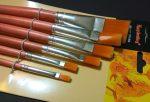 Ecset készlet lapos, szintetikus (barna nyelű, 6-os szett)
