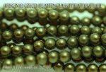Teklagyöngy, olajzöld 4mm, 36-39 db / szál