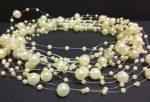 Gyöngyfüzér különféle méretű gyöngyök, bézs 5,7méter