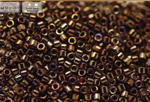 Delica gyöngy 11/0, DB0007, irizáló barna, 4g