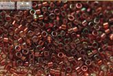 Delica gyöngy 11/0, DB0105, átl., piros, arany lüszterrel, 4g