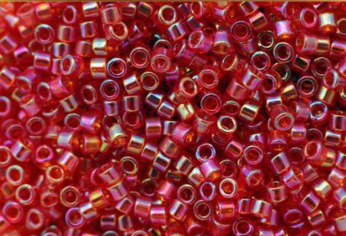Delica gyöngy 11/0, DB0172, átlátszó eper AB, 4g
