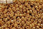 Japán kása 11/0, galvanizált sárga arany, 10g