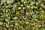 Japán kása 11/0, aranyközepű szivárványos oliva, 10g