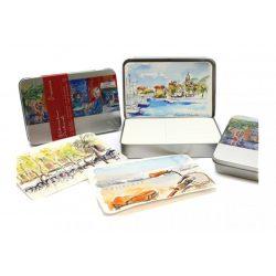 Hahnemühle akvarell képeslap fém dobozban-230 g/m2 30 lap, 10,5 x 14,8cm matt, finom szemcsés