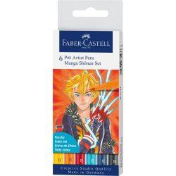 """Faber-Castell Pitt művész filctoll MANGA """"Shonen"""" 6db-os"""