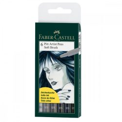 Faber-Castell Pitt művész filctoll fekete 8db-os klf.vastagság