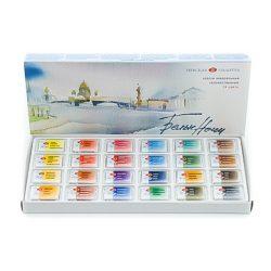 """St. Petersburg """"White Nights"""" akvarelfesték készlet 24 szilke, karton doboz"""