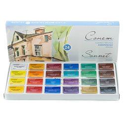 """""""Sonnet"""" akvarellfesték készlet 24 szilke, karton doboz"""
