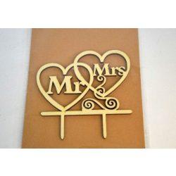 Fa dísz, lézervágott, beszúrós Mr&Mrs