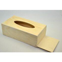Fa asztali zsebkendő tartó 25*12,5*8,7cm
