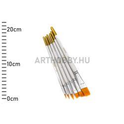 Ecset készlet, szintetikus (fehér nyelű, 6-os szett) KS