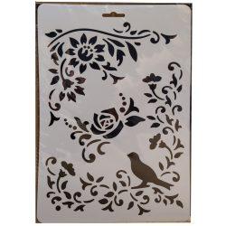 Stencil A4, virágok madárral