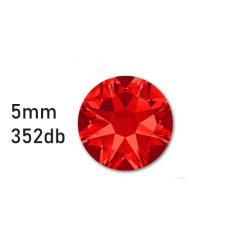 Strasszkő piros ragasztható, átm.:5mm  352db strassz/lap