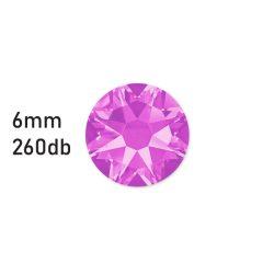 Strasszkő fáradt rózsaszín ragasztható, átm.:6mm  260db strassz/lap