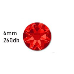 Strasszkő piros ragasztható, átm.:6mm  260db strassz/lap