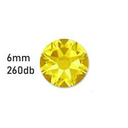 Strasszkő sárga ragasztható, átm.:6mm  260db strassz/lap