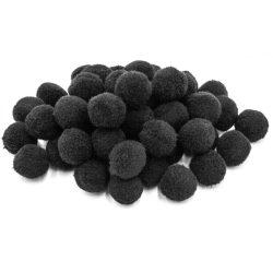 Pompon D=25mm, fekete 50db/csg