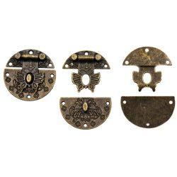 Doboz zár, antik kerek pillangó D:40mm (5db/csomag)