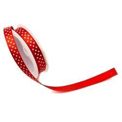 Szatén szalag 2m/tek, pöttyös piros