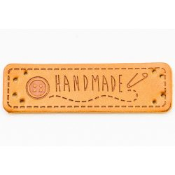 "Címke ""hand made"" felirattal, gomb 5*1,5cm (bőr utánzat)"