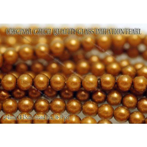 Teklagyöngy, aranybarna 4mm, 36-39 db / szál