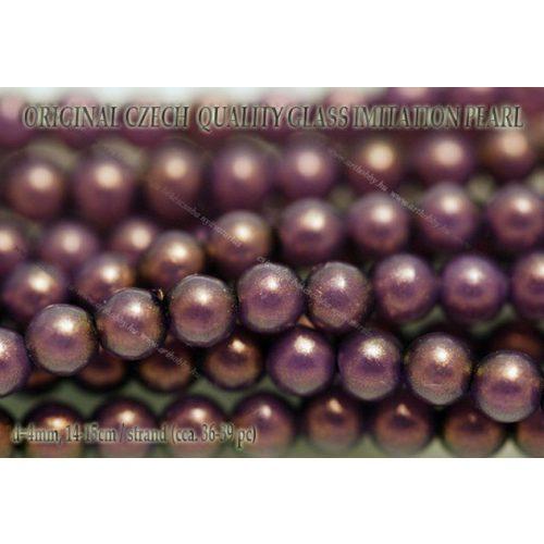 Teklagyöngy, lila 4mm, 36-39 db / szál
