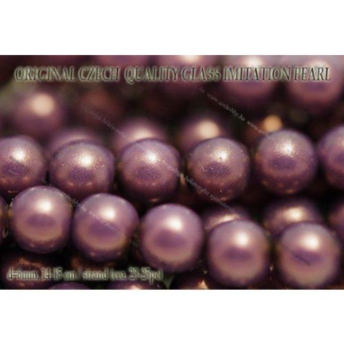 Teklagyöngy, lila 6mm, 23-25 db /szál