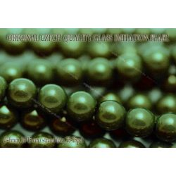 Teklagyöngy, olajzöld 6mm, 23-25 db /szál