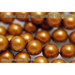 Teklagyöngy, aranybarna 8mm, 18-19 db / szál