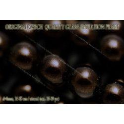 Teklagyöngy, fekete arany 8mm, 18-19 db / szál