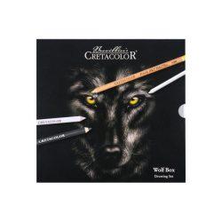Rajzkészlet, Cretacolor Wolf box 25 darabos, fémdobozos