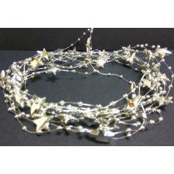 Gyöngyfüzér csillag+gyöngy ezüst, 4,1m