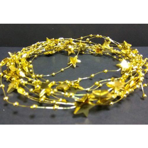 Gyöngyfüzér csillag+gyöngy arany, 4,1m
