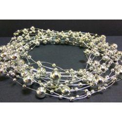 Gyöngyfüzér különféle méretű gyöngyök, ezüst 5,7méter