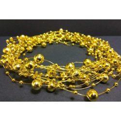 Gyöngyfüzér különféle méretű gyöngyök, arany 5,7méter