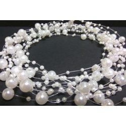 Gyöngyfüzér különféle méretű gyöngyök, fehér 5,7méter