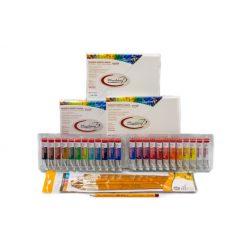Kezdő akril csomag, Talens akril készlettel, Munkácsy vásznakkal, 10db ecsettel és ceruzával