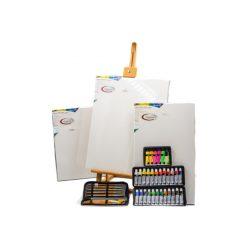 Akril készlet vásznakkal és festőállvánnyal, 24db-os akril készlettel és neon akrilokkal, 10db-os ecset készlettel és tokkal