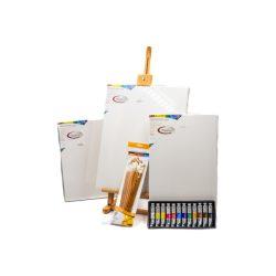 Akril készlet vásznakkal és festőállvénnyal, 12db-os akril készlettel, 10db-os ecset készlettel