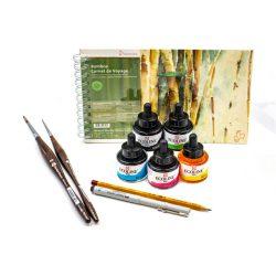 Ecoline akvarell szett, tervezéshez, tömbbel, tűfilccel, ceruzával és ecsetekkel