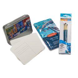 Akvarell képeslap készítő készlet, üres képeslap csomaggal, akvarelltinta ceruza készlettel és ecsetekkel