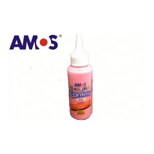 AMOS üvegmatrica festék 60ml, konfetti piros