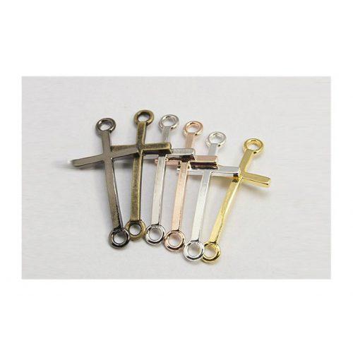 Köztes elem, kereszt, arany szín, méret:39x17x2mm, lyuk: 3mm