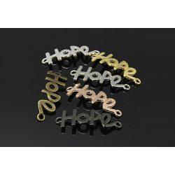 """Köztes elem """"hope"""", ezüst szín, méret:41x14x1.5mm, lyuk: 2.5mm"""