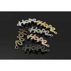 """Köztes elem """"hope"""", fekete szín, méret:41x14x1.5mm, lyuk: 2.5mm"""