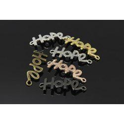 """Köztes elem """"hope"""", sárgaréz szín, méret:41x14x1.5mm, lyuk: 2.5mm"""