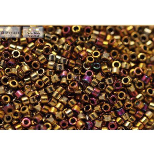 Delica gyöngy 11/0, DB0029, metál bíbor/arany szivárvány, 4g
