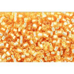Delica gyöngy 11/0, DB0042, ezüst közepű arany, 4g