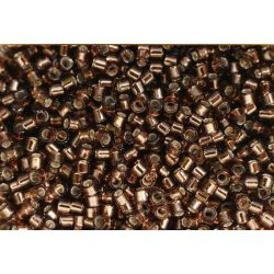 Delica gyöngy 11/0, DB0150, ezüst közepű barna, 4g
